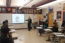 Undersheriff Ted Freeman teaching terrorism awareness to Explorer Post 1 at Neptune High School